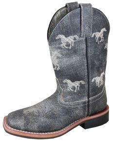 Smoky Mountain Boys' Rancher Western Boots - Square Toe, Grey, hi-res