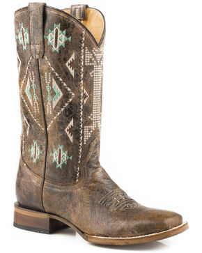 Roper Women's Out West Aztec Embroidered Cowgirl Boots - Square Toe, Brown, hi-res