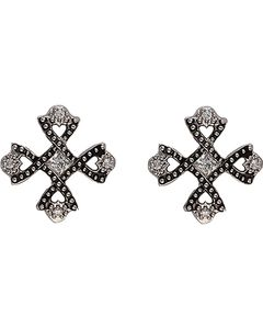 Montana Silversmiths Antiqued Crystal Braided Cross Earrings, Silver, hi-res