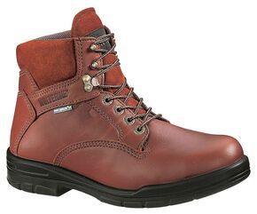 "Wolverine 6"" Durashocks Lace-Up Work Boots - Steel Toe, Brown, hi-res"