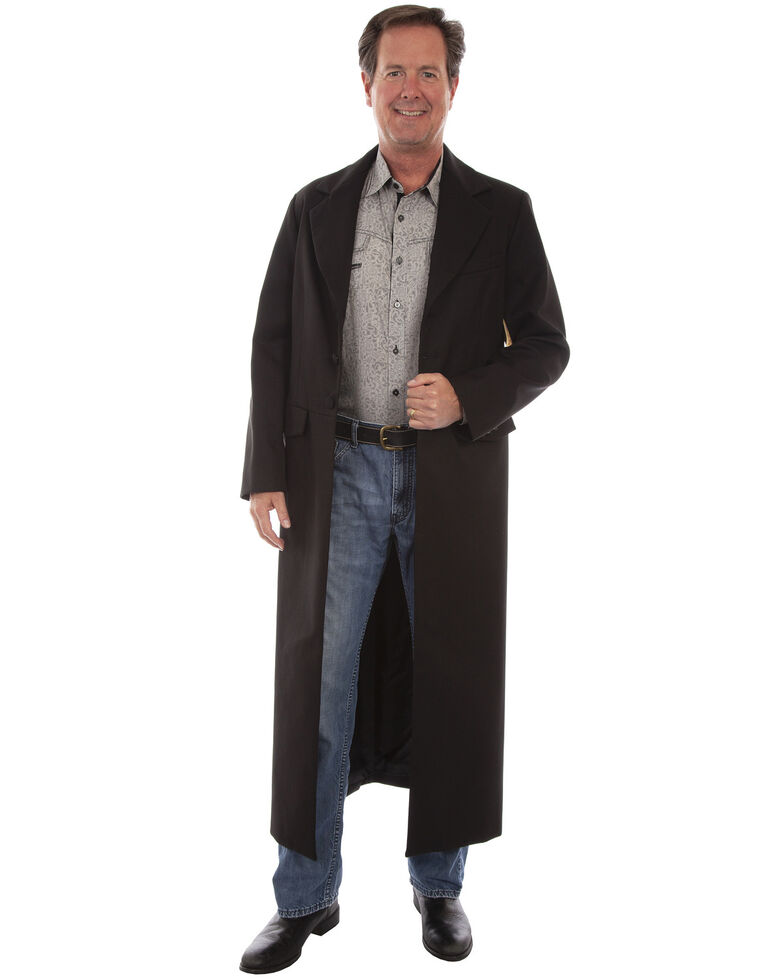 WahMaker by Scully Long Ruffle Frock Coat - Big & Tall, Black, hi-res