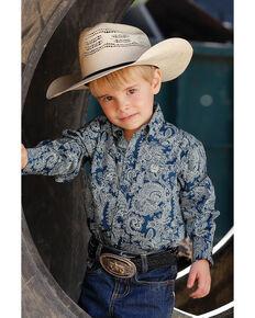 Cinch Toddler Boys' Navy Paisley Print Long Sleeve Western Shirt , Navy, hi-res