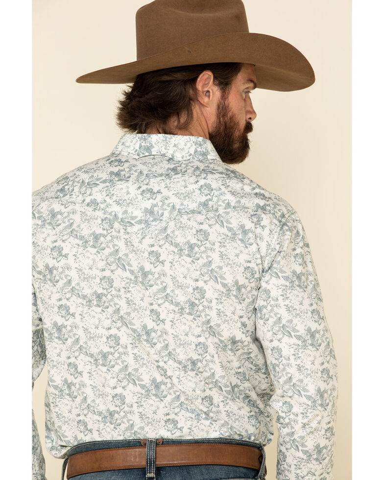 Moonshine Spirit Men's White Camo Floral Print Long Sleeve Western Shirt , White, hi-res