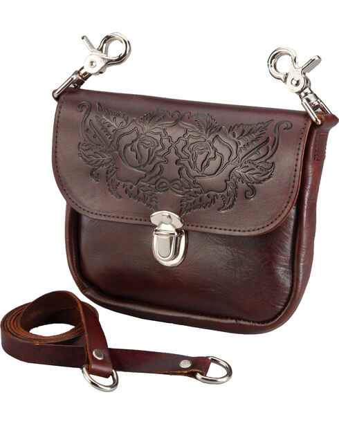 Western Express Women's Brown Leather Rose Tooled Purse , Brown, hi-res
