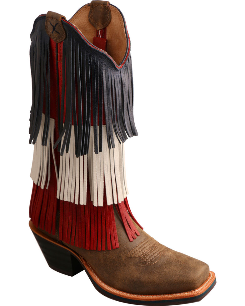Twisted X Ruff Stock VFW Fringe Cowgirl Boots - Square Toe, Bomber, hi-res