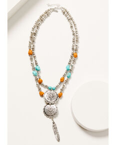 Shyanne Women's Autumn Sunset Multi Layered Breaded Concho Necklace , Silver, hi-res