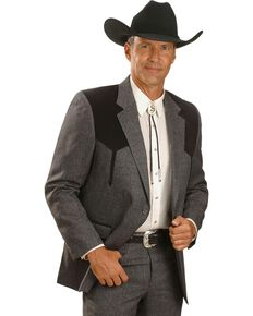 Circle S Boise Western Suit Coat - Big and Tall, Hthr Charcoal, hi-res