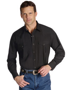 Ely Cattleman Men's Solid Long Sleeve Western Shirt, Black, hi-res
