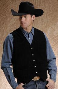 Roper Men's Black Suede Vest, Black, hi-res