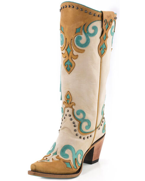 Lane Women's Royal Fringe Boots - Snip Toe , Cream, hi-res
