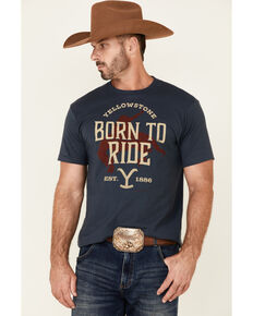 Paramount Network's Yellowstone Men's Navy Born To Ride Bucking Graphic Short Sleeve T-Shirt , Navy, hi-res