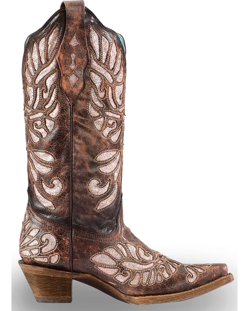Corral Women's Pink Glittered Inlay Western Boots - Snip Toe, Brown, hi-res