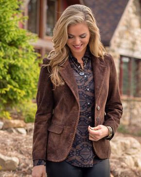 Ryan Michael Women's Suede Whip Stitch Blazer , Brown, hi-res