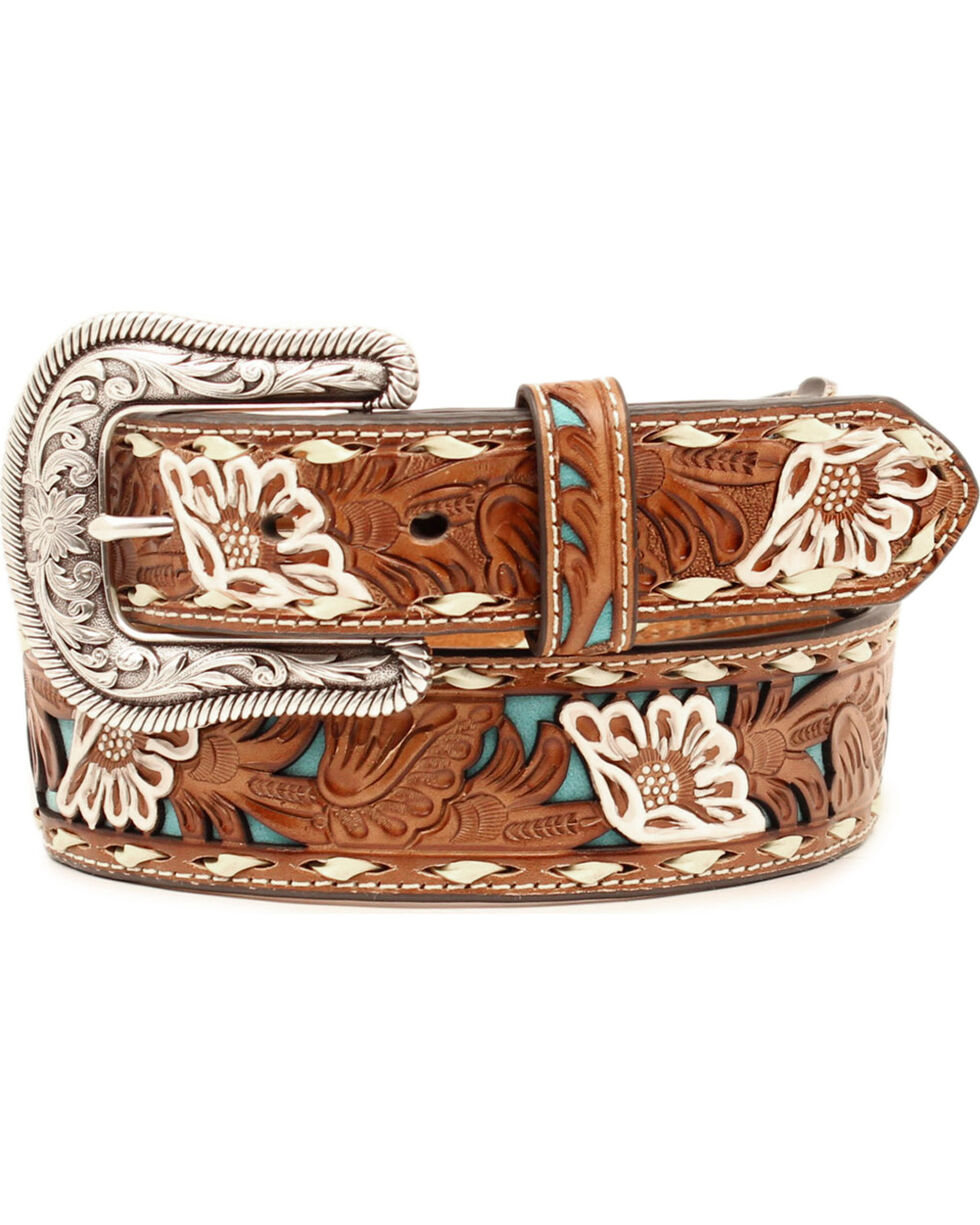 Nocona Women's Brown Floral Tooled Overlay Leather Belt, , hi-res