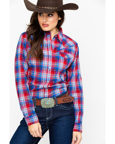 947990ad Wrangler Womens Red & Blue Plaid Snap Long Sleeve Shirt , Red, hi-res