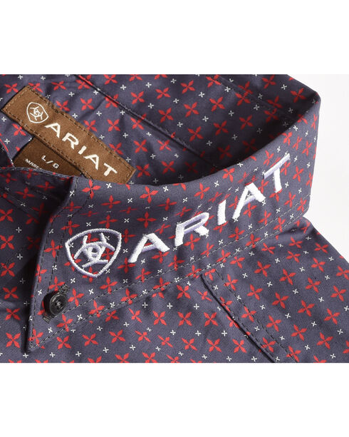 Ariat Men's Anniston Print Casual Classic Logo Shirt, Grey, hi-res