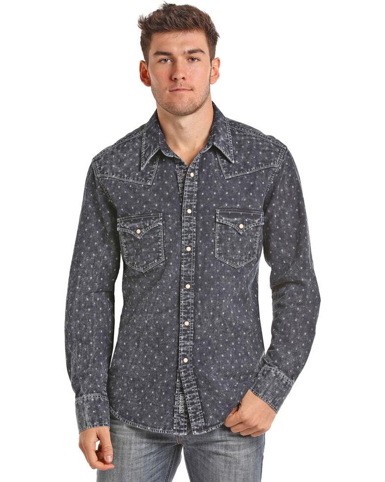 2121cd32 Zoomed Image Rock & Roll Cowboy Men's Indigo-Dyed Double Weave Long Sleeve  Snap Shirt, Indigo