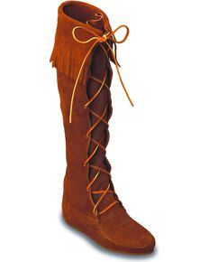 Minnetonka Front Laced Hard Sole Knee-High Fringe Boots, Brown, hi-res