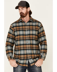 Pendleton Men's Brown Cascade Plaid Long Sleeve Western Flannel Shirt , Brown, hi-res