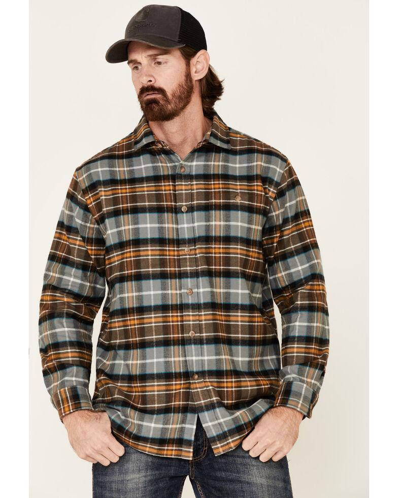 Pendleton Men's Brown Cascade Plaid Long Sleeve Western Flannel Shirt , Brown, hi-res