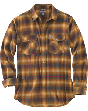 Carhartt Men's Rugged Flex Hamilton Snap-Front Plaid Shirt , Brown, hi-res