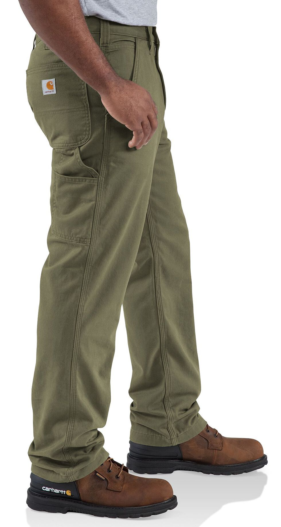 Carhartt Washed Twill Dungaree Flannel-Lined Pants, Army, hi-res