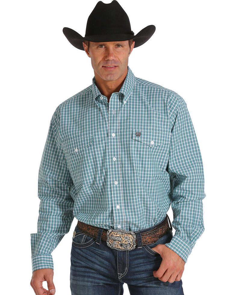 fda61a615ee Cinch Men s Light Blue and White Plaid Double Pocket Western Shirt ...