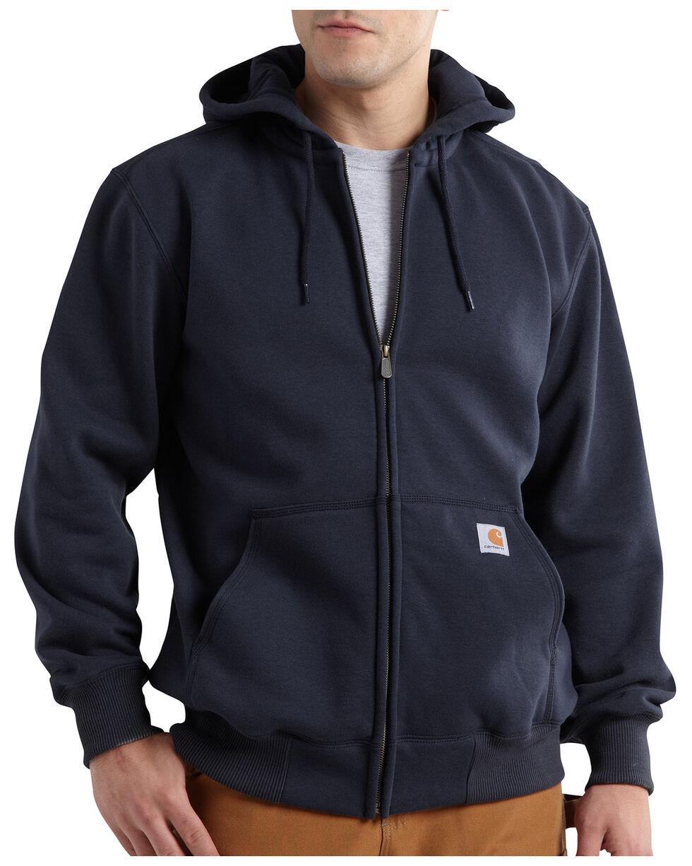 Carhartt Rain Defender Paxton Zip Front Hooded Sweatshirt - Big & Tall, Navy, hi-res