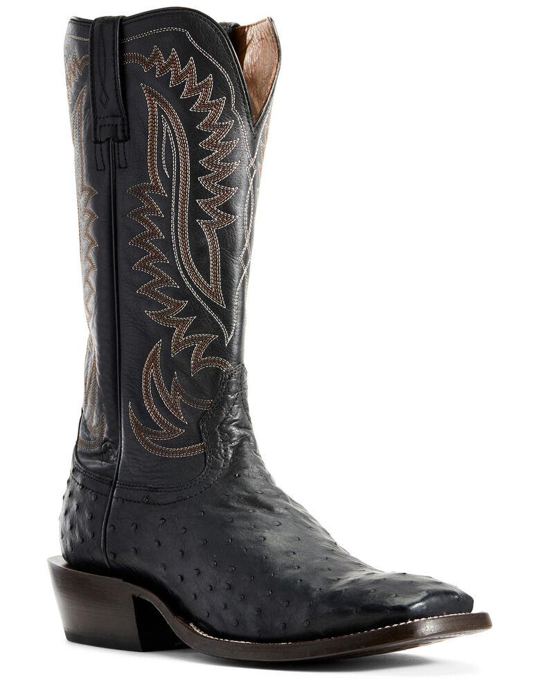 Ariat Men's Showman Black Full Quill Ostrich Western Boots - Wide Square Toe, Black, hi-res
