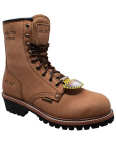 "Ad Tec Men's 9"" Waterproof Logger Work Boots - Steel Toe, Brown, hi-res"