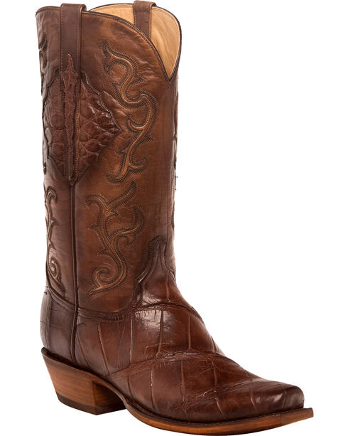 Lucchese Men's Handmade Ace Chocolate Giant Gator Western Boots - Square Toe, Chocolate, hi-res