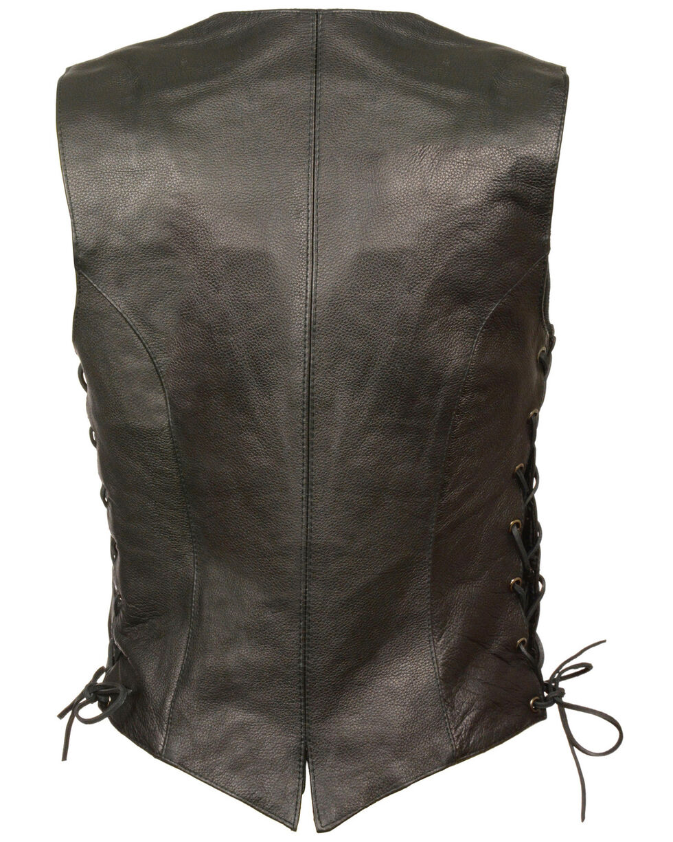 Milwaukee Leather Women's Classic Side Lace Vest - 4X, Black, hi-res