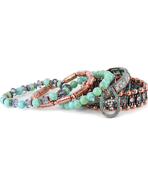 Shyanne Women's Mixed Bracelet Set, Turquoise, hi-res
