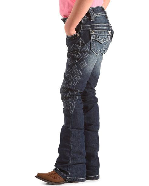 Shyanne Girls' Aztec Wash Printed Jeans - Boot Cut, Blue, hi-res