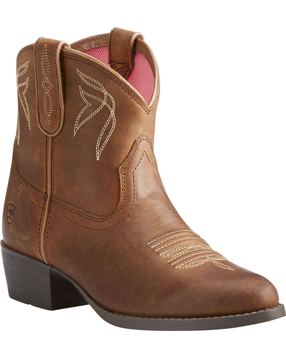 Ariat Girls' Brown Darlin Distressed Western Boots - Round Toe , Brown, hi-res