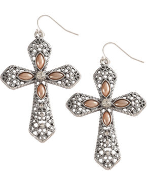 Shyanne Women's Cross Earrings , Silver, hi-res