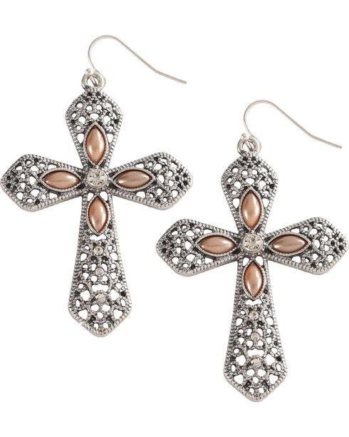 Shyanne Women's Cross Earrings , Silver, hi-res