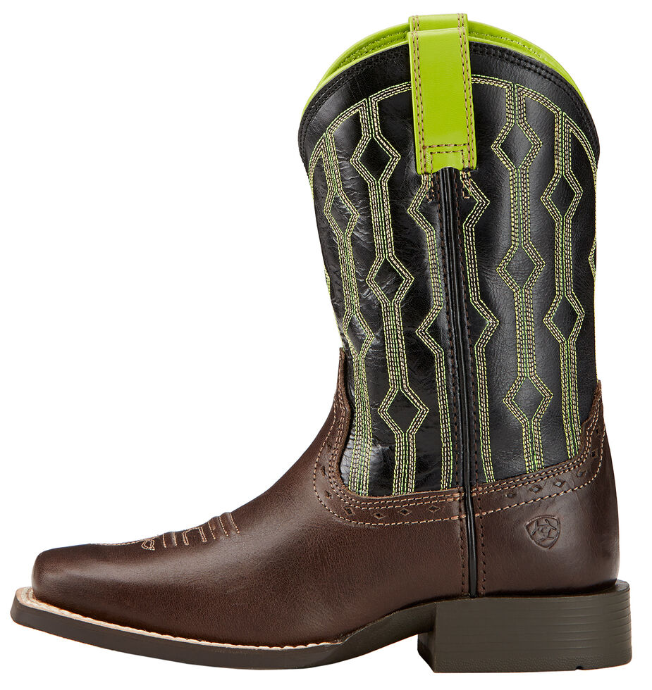 Ariat Children's Live Wire Cowboy Boots - Square Toe , Chocolate, hi-res