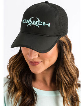 Cinch Women's Logo Athletic Cap, Black, hi-res