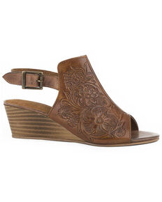 Roper Women's Burnish Floral Tooled Leather Sandals, Tan, hi-res