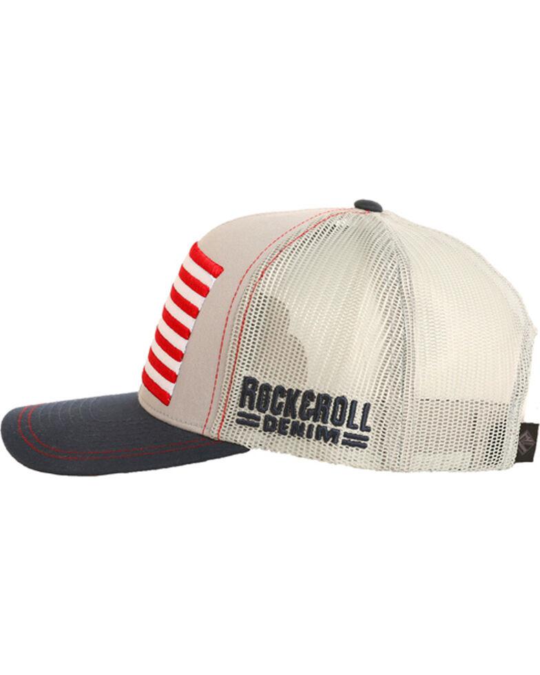 Rock & Roll Cowboy Men's Retro Flag Trucker Cap, Grey, hi-res
