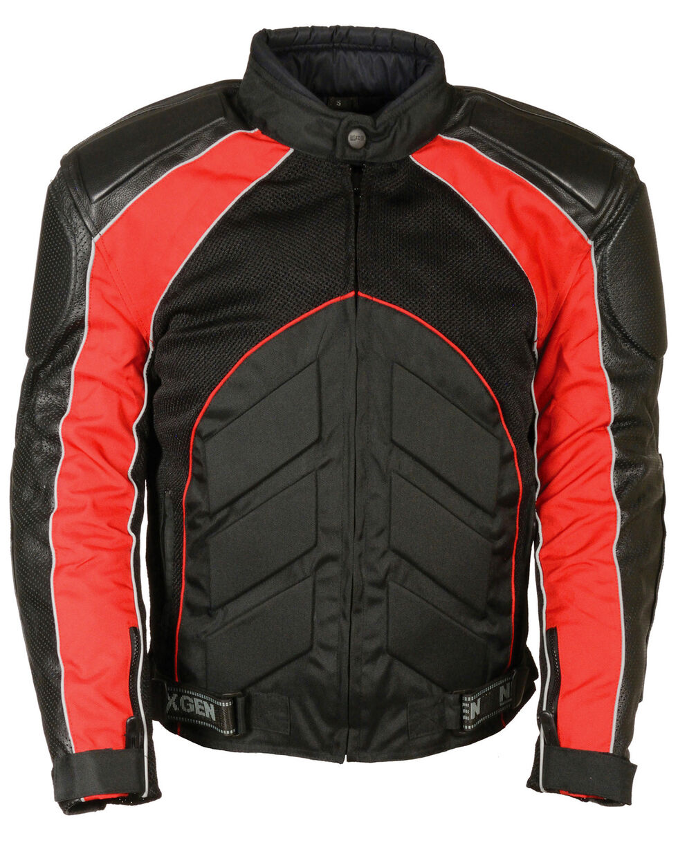 Milwaukee Leather Men's Combo Leather Textile Mesh Racer Jacket - 3X, , hi-res