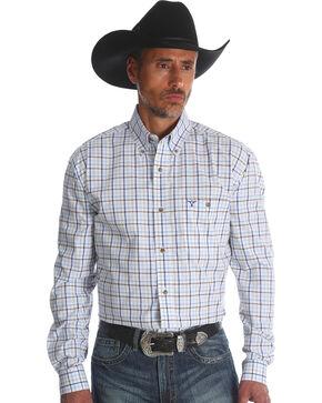 Wrangler 20X Men's Blue Small Plaid Advanced Comfort Competition Long Sleeve Western Shirt , Blue, hi-res