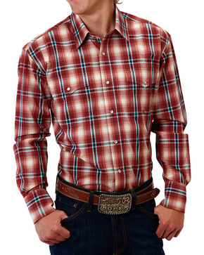 Roper Men's Red Plaid Snap Long Sleeve Shirt, Red, hi-res