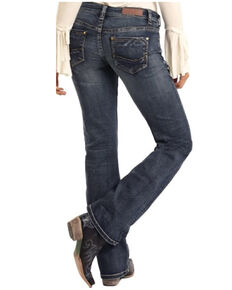 Rock & Roll Denim Women's Dark Vintage Boyfriend Jeans, Blue, hi-res