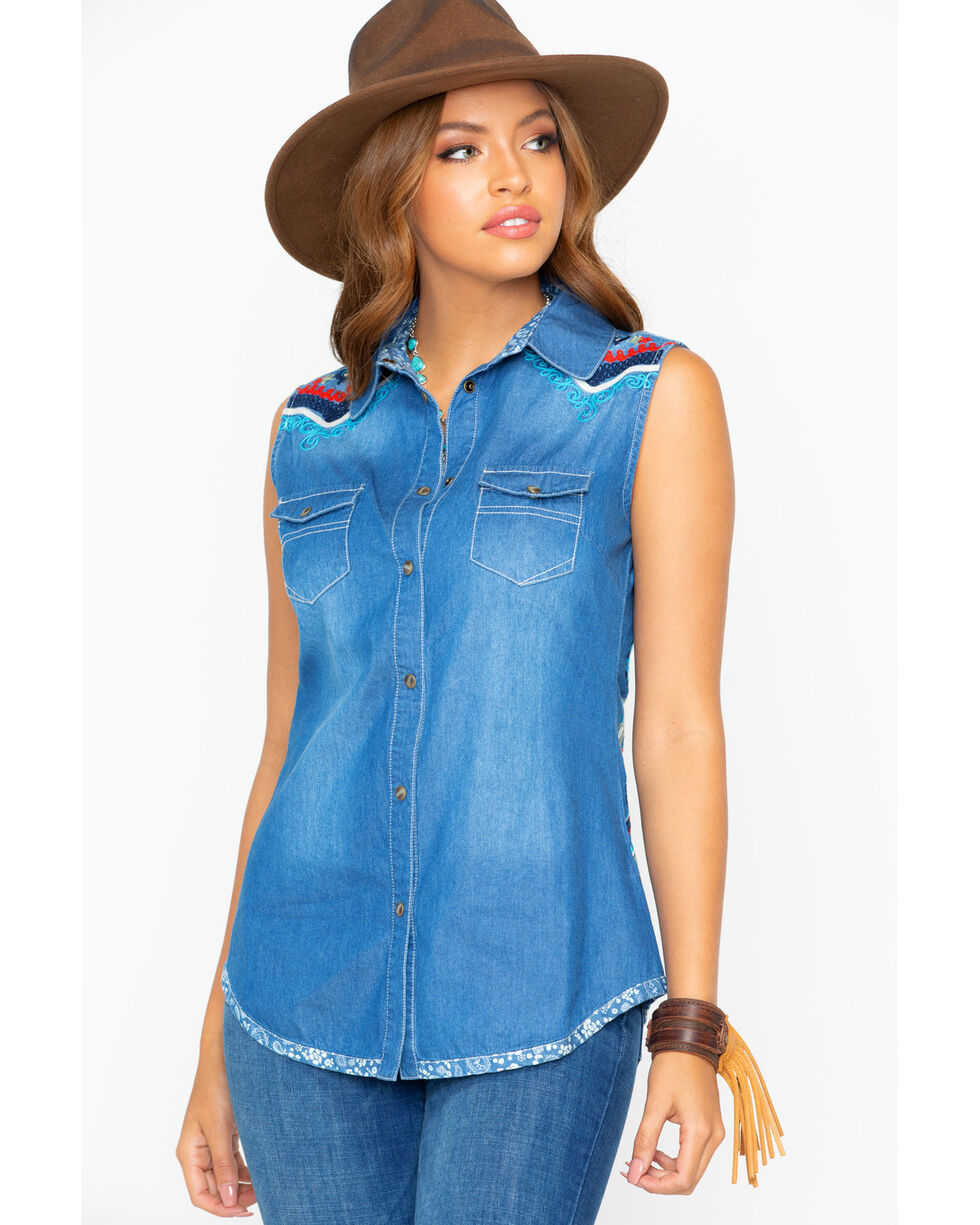 Tasha Polizzi Women's Independence Embroidered Denim Sleeveless Shirt, Indigo, hi-res