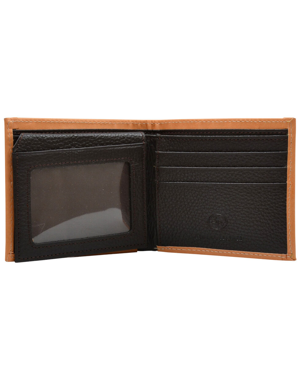 3D Men's Brown Rustic Ostrich Print Leather BiFold Wallet , Brown, hi-res