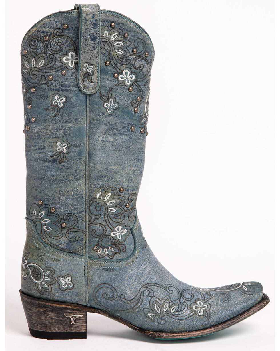 Lane Women's Sweet Paisley Cowgirl Boots - Snip Toe , Navy, hi-res