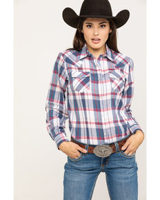 ffb5ca9cf Wrangler Womens Red White & Blue Lurex Plaid Long Sleeve Western Shirt, Red/ white