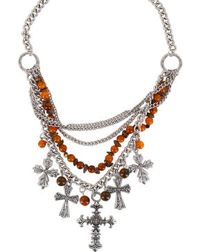 Shyanne Women's Beaded Cross Necklace , Brown, hi-res